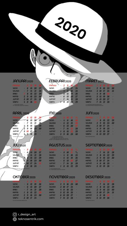 kalender 2020 background anime one piece luffy