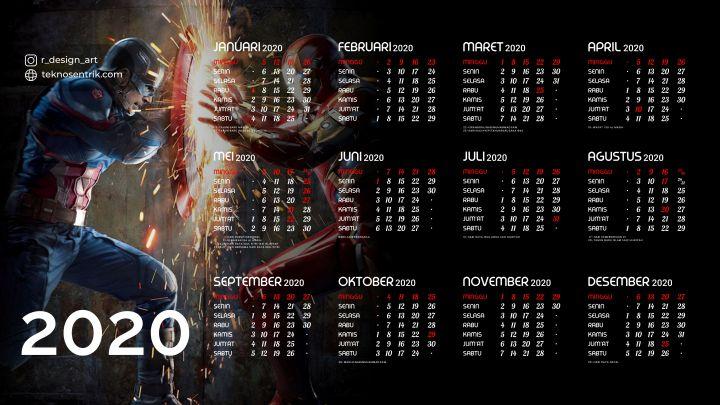 kalender 2020 background avenger captain america iron man