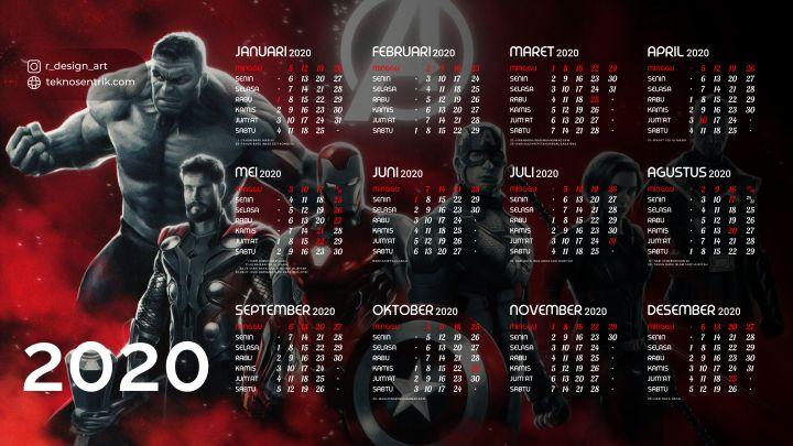 kalender 2020 background avenger marvel