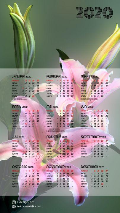 kalender 2020 background bunga