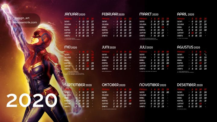 kalender 2020 background captain marvel