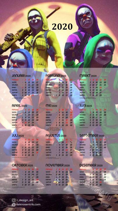kalender 2020 background free fire