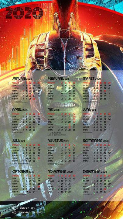 kalender 2020 background hulk