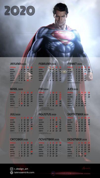 kalender 2020 background keren superman terbaru