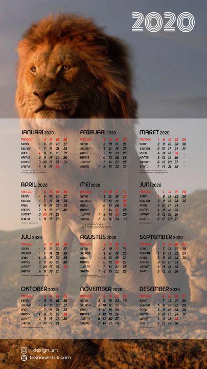 kalender 2020 background lion king