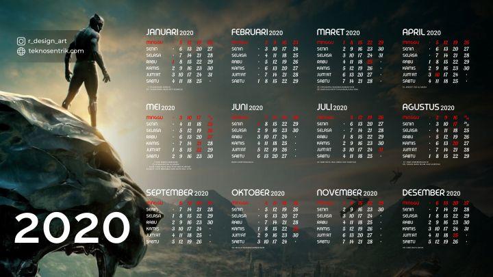 kalender 2020 background marvel black panther