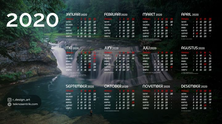 kalender 2020 background pemandangan alam