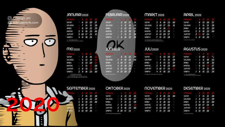 kalender 2020 background saitama one punch man