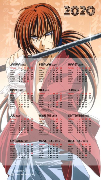 kalender 2020 background samurai x kenshin himura