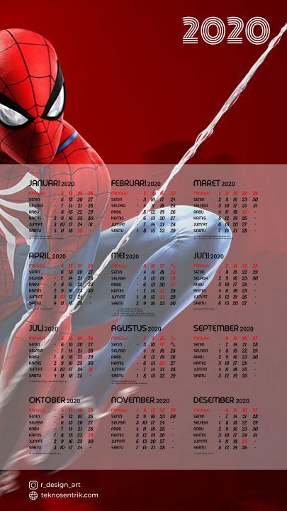 kalender 2020 background spiderman keren