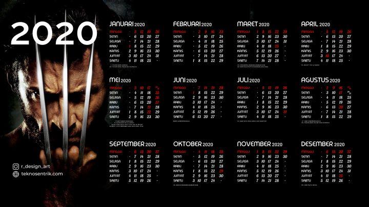 kalender 2020 background wolverine