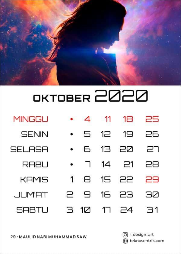 kalender 2020 masehi bulan oktober preview