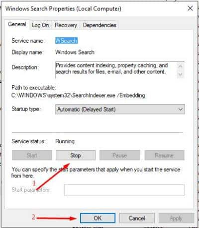 matikan search services agar loading windows lebih cepat