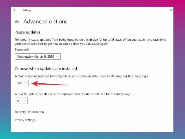 mematikan update fitur windows 10 selama satu tahun