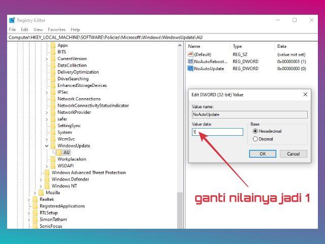 mematikan update otomatis windows 10 secara permanen dengan regedit