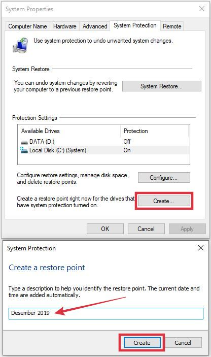 membuat restore point baru di windows 10