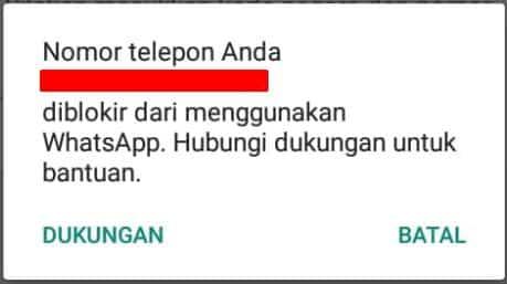 nomor telepon dilblokir dari menggunakan whatsapp