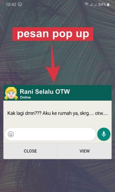 pesan pop up whatsapp muncul di layar hp