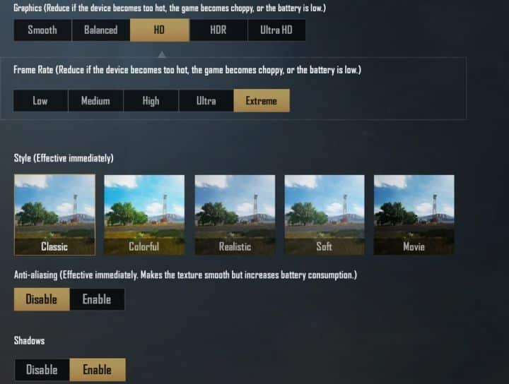 settingan emulator gameloop pubg mobile 60 fps