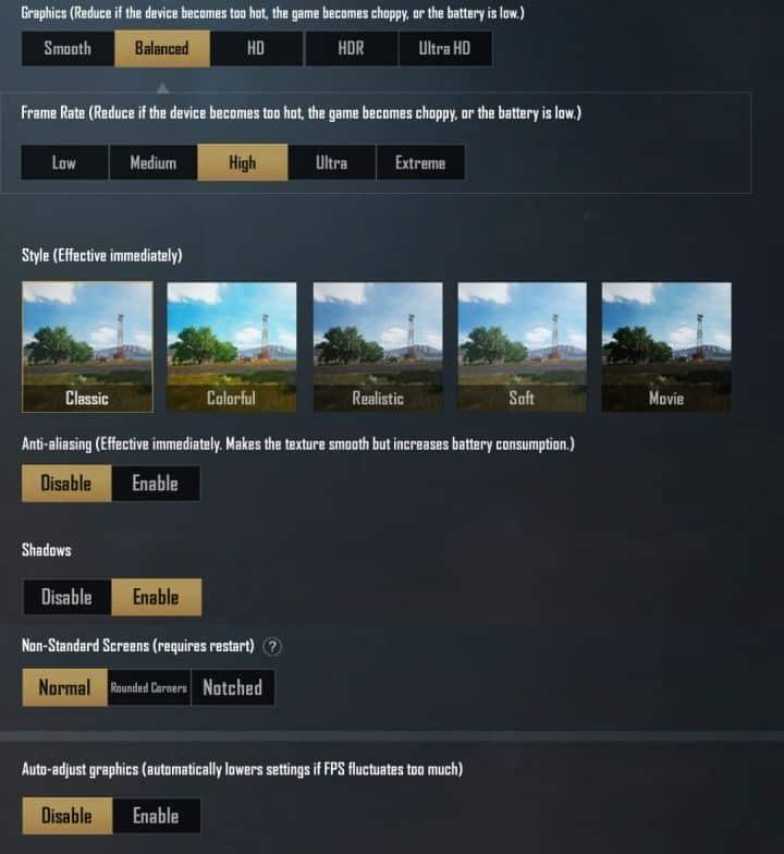 settingan in game emulator gameloop pubg mobile ram 4 gb