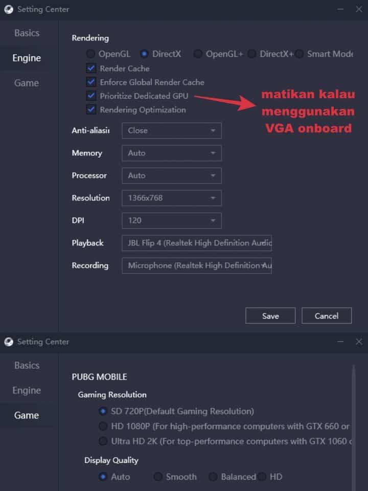 settingan pubg mobile emulator gameloop ram 4gb no lag