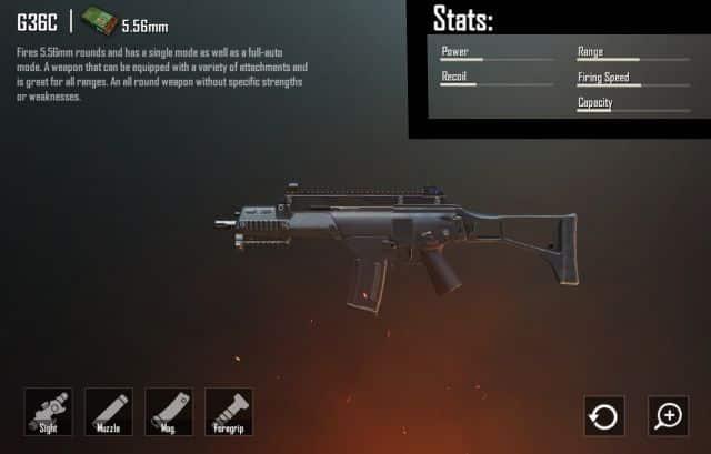 statistik damage senjata ar g36c pubg mobile