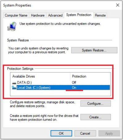 system restore point sudah aktif di windows