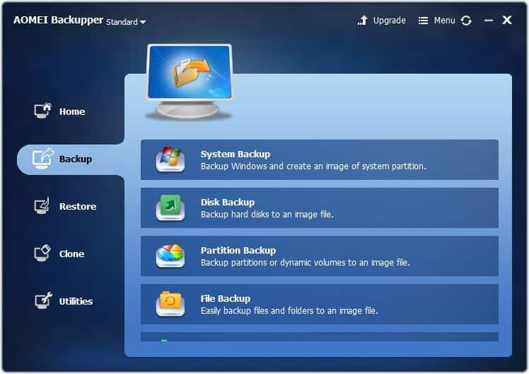 tampilan antar muka AOMEI Backupper Standard