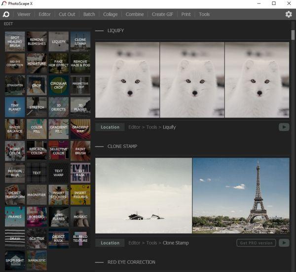 tampilan aplikasi photoscape x
