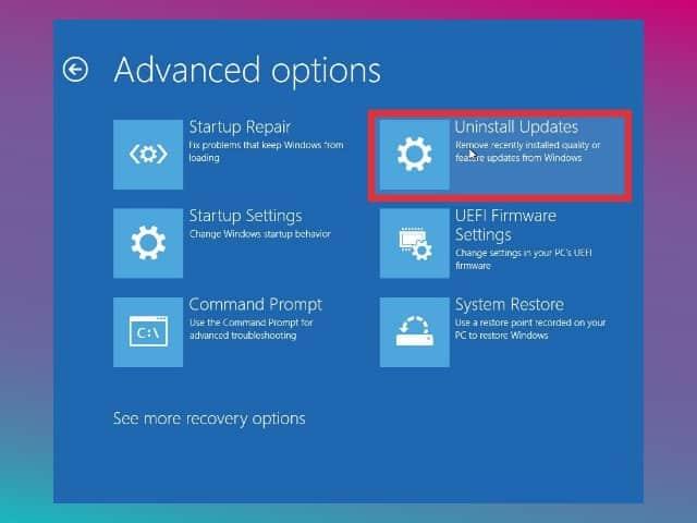 uninstall update windows 10 lewat WinRE