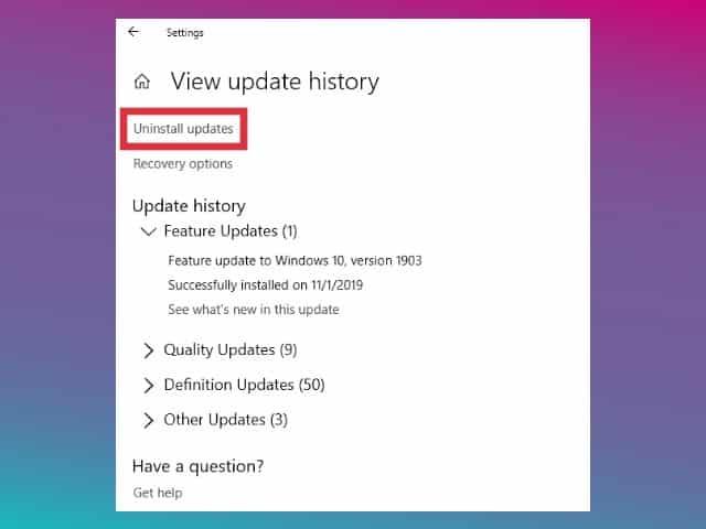 update history windows 10